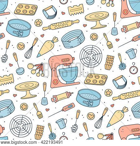 Seamless Pattern With Tools For Making Cakes, Cookies And Pastries. Doodle Confectionery Tools - Sta
