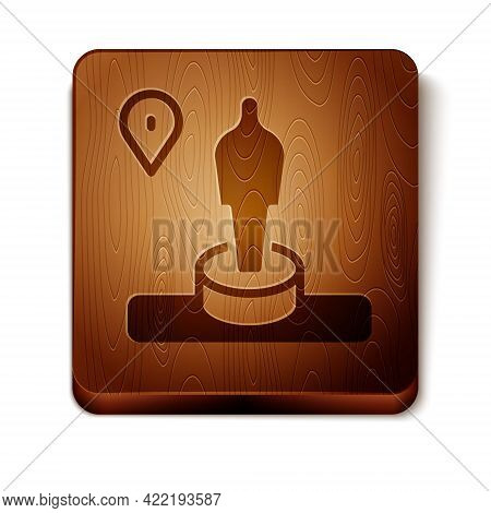 Brown Map Pin And Monument Icon Isolated On White Background. Navigation, Pointer, Location, Map, Gp