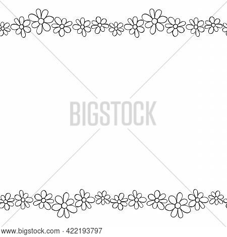 Vector Hand Drawn Border, Frame Of Small Outline Black Flowers Chamomiles In Doodle Style. Horizonta