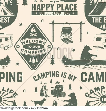 Summer Camp Seamless Pattern Or Background. Vector Seamless Scene With Quad Bike, Tent, Mountain, Ca