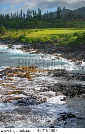 Rock And Sea. View Of Turuoise Water And Lava Rocks Beach, Atlantic Ocean Waves. Topical Travelling