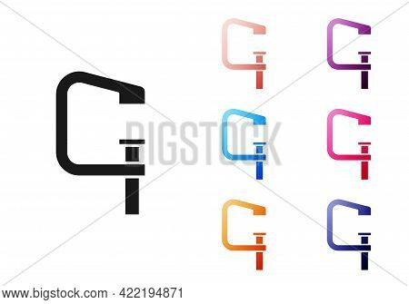 Black Clamp And Screw Tool Icon Isolated On White Background. Locksmith Tool. Set Icons Colorful. Ve