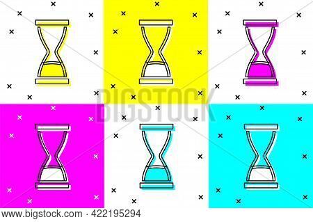 Set Old Hourglass With Flowing Sand Icon Isolated On Color Background. Sand Clock Sign. Business And
