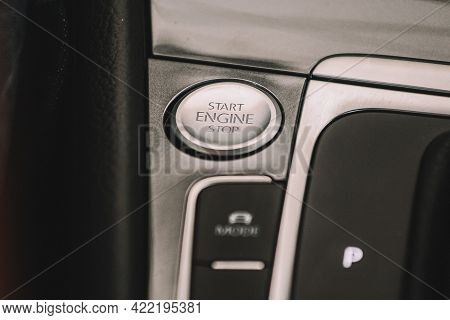 Electric Car Volkswagen Vw E-golf On City Streets, Close View Of Start-stop Panel