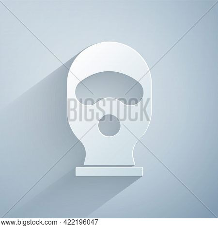 Paper Cut Balaclava Icon Isolated On Grey Background. A Piece Of Clothing For Winter Sports Or A Mas