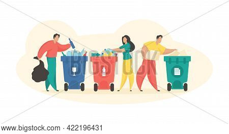 People Sorting Garbage. Waste Collection For Recycling. Male And Female Characters Throw Trash Speci