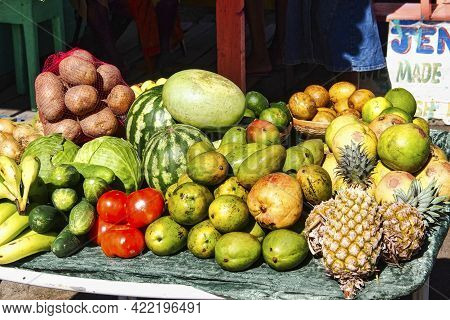 Fruit Market At Chatham Bay On Union Island, Saint Vincent And The Grenadines, Lesser Antilles, West