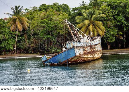 Wreck In The Blue Lagoon At St. Vincent And The Grenadines In The Caribbean Sea, Lesser Antilles, We