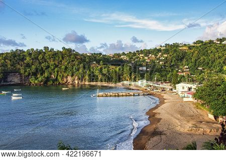 Anse La Raye, Beautiful Sand Beach In Saint Lucia, Caribbean Islands, Lesser Antilles, West Indies