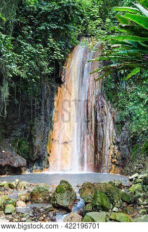 Diamond Waterfall In St. Lucia Botanical Gardens, Saint Lucia, Caribbean Islands, Lesser Antilles, W