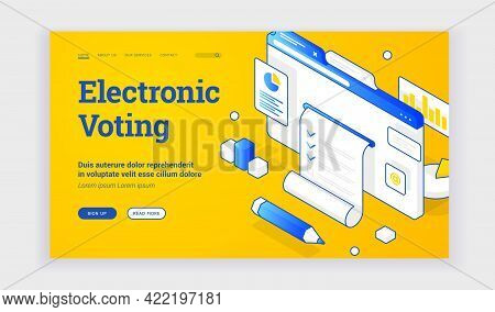 Vector Illustration Of Website With Ballot Depicted Near Description And Link Button On Banner For C