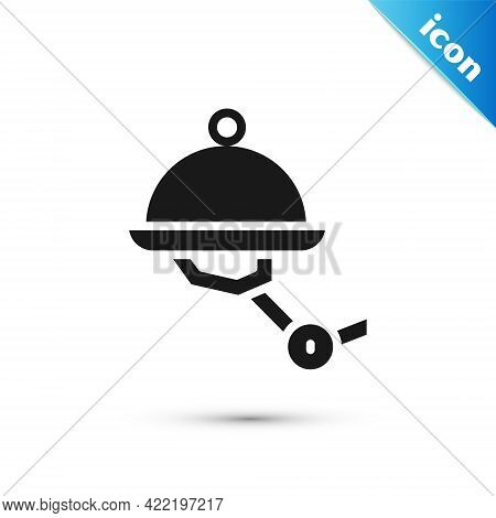 Grey Waiter Robot With Covered Plate Icon Isolated On White Background. Artificial Intelligence, Mac