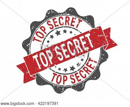 Top Secret. An Impression Of A Seal Or Stamp With Scuffs. Grunge Style. Flat Design
