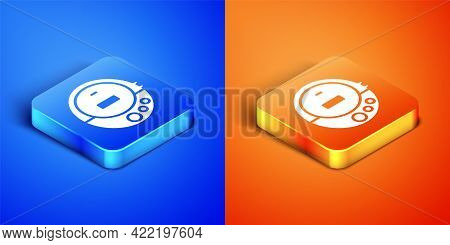 Isometric Music Cd Player Icon Isolated On Blue And Orange Background. Portable Music Device. Square