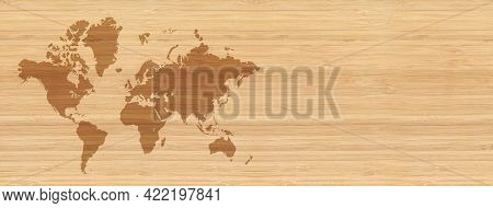 World Map Isolated On Beige Wooden Wall Background. Horizontal Banner