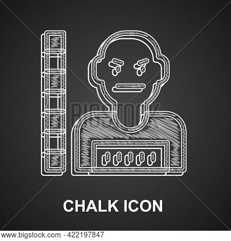 Chalk Suspect Criminal Icon Isolated On Black Background. The Criminal In Prison, Suspected Near The