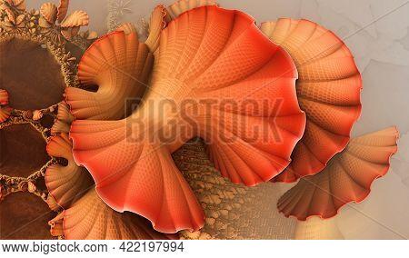 Abstract background, fantastic 3D shapes, underwater orange shells, fictional render illustration.