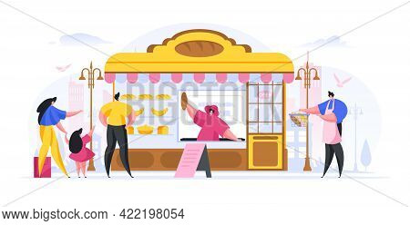 Vector Illustration In Flat Style Of Vendor Selling Freshly Baked Bread Goods To People On Street Is