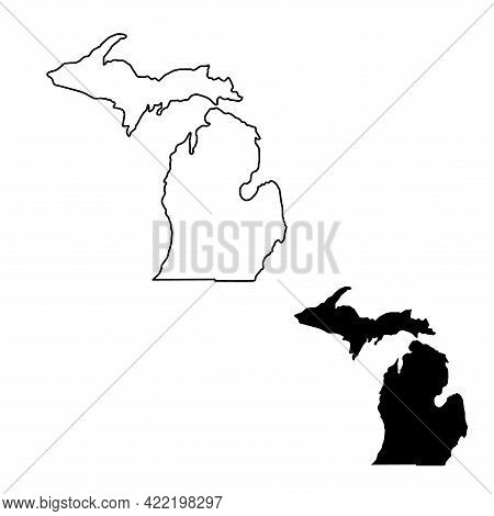 Michigan Map Vector Illustration, Scribble Sketch Michigan Map. State Silhouette And Outline Hand Dr