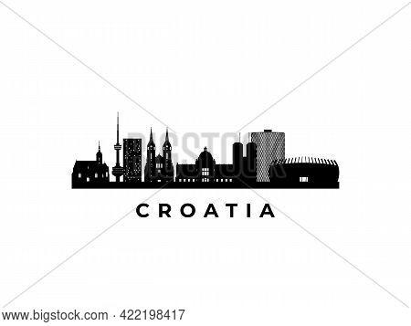 Vector Croatia Skyline. Travel Croatia Famous Landmarks. Business And Tourism Concept For Presentati
