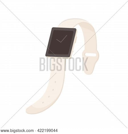Smart Hand Watch With Black Display And Leather Strap. Wrist Clock With Square Screen And Adjustable