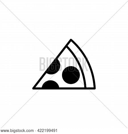 Slice Of Pizza Black Line Icon. Abstract Fastfood Concept. Trendy Flat Isolated Symbol, Sign Can Be