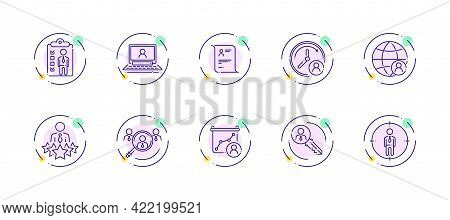 10 In 1 Vector Icons Set Related To Human Resources Theme. Violet Lineart Vector Icons Isolated On B