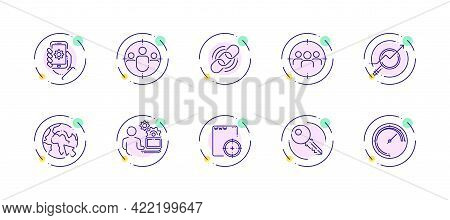 10 In 1 Vector Icons Set Related To Seo Link Optimization Theme. Violet Lineart Vector Icons Isolate