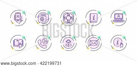 10 In 1 Vector Icons Set Related To Customer Support Theme. Violet Lineart Vector Icons Isolated On