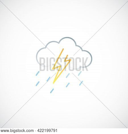 Thunder And Rain Line Icon. Vector Weather Sign.