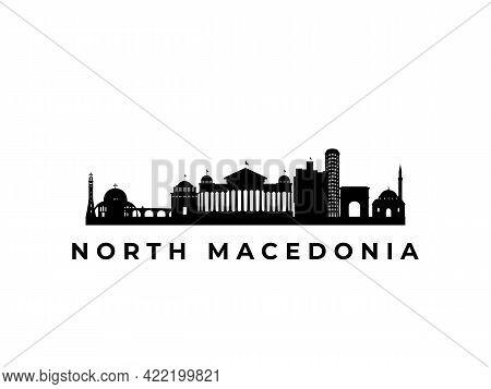 Vector North Macedonia Skyline. Travel North Macedonia Famous Landmarks. Business And Tourism Concep