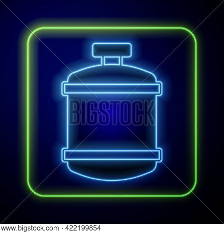 Glowing Neon Propane Gas Tank Icon Isolated On Blue Background. Flammable Gas Tank Icon. Vector
