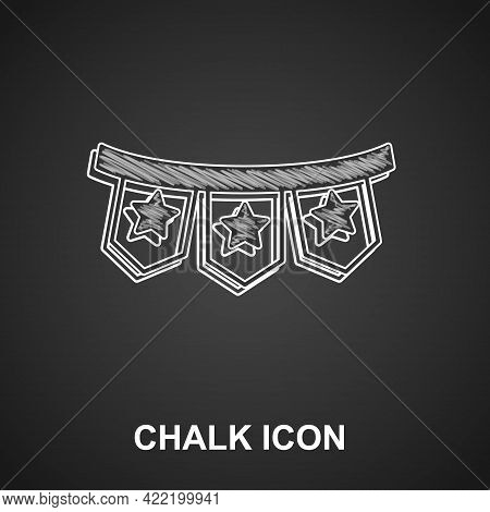 Chalk Carnival Garland With Flags Icon Isolated On Black Background. Party Pennants For Birthday Cel