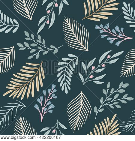 Seamless Cute Floral Vector Pattern With Plant And Flowers. Flower Background.