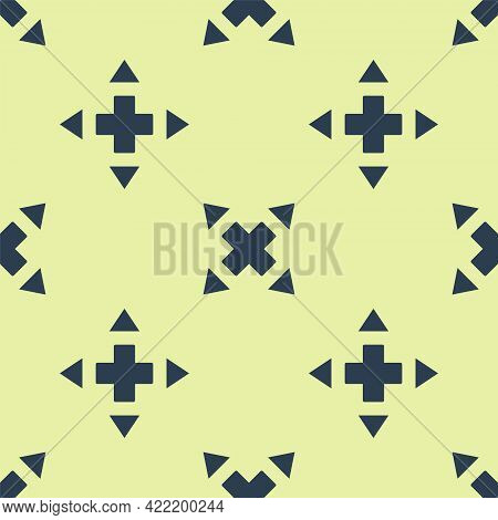 Blue Many Ways Directional Arrow Icon Isolated Seamless Pattern On Yellow Background. Vector
