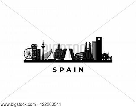 Vector Spain Skyline. Travel Spain Famous Landmarks. Business And Tourism Concept For Presentation,