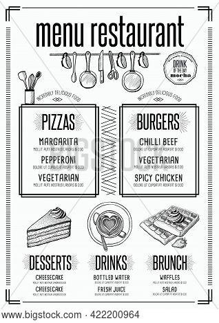 Placemat Menu Restaurant Food Brochure, Cafe Template Design. Creative Vintage Brunch Flyer With Han