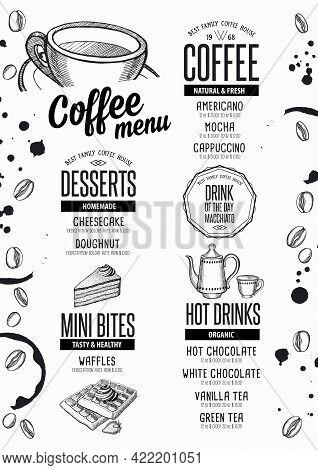 Coffee Menu Placemat Food Restaurant Brochure; Cafe Template Design. Vintage Creative Beverage Flyer