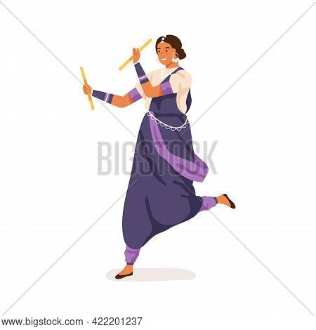 Young Indian Woman Performing Traditional Folk Dance With Sticks. Garba Dancer Dancing In Ethnic Clo