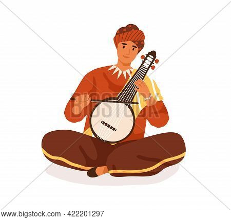 Indian Street Musician Playing Traditional String Instrument, Vina Or Veena. Happy Smiling Man In Tu