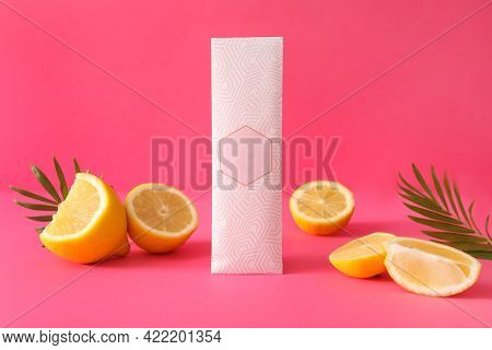 Scented Sachet, Leaves And Lemons On Pink Background