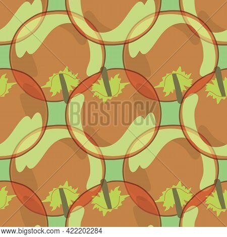Seamless Pattern With Translucent Apple Fruit Illustration