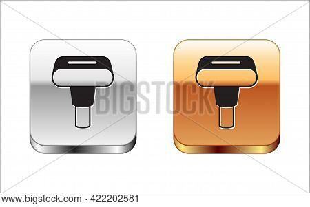 Black Portable Home And Travel Garment Steamer For Clothes Icon Isolated On White Background. Silver