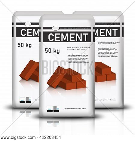 3d Realistic Vector Three Bags Of Cement With Red Construction Bricks On It.