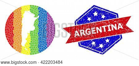 Pixel Rainbow Gradiented Map Of Argentina Collage Composed With Circle And Subtracted Shape, And Tex