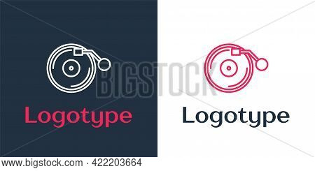 Logotype Line Vinyl Player With A Vinyl Disk Icon Isolated On White Background. Logo Design Template