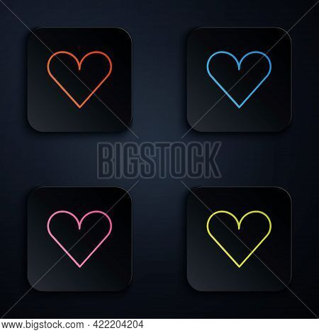 Color Neon Line Heart Icon Isolated On Black Background. Romantic Symbol Linked, Join, Passion And W