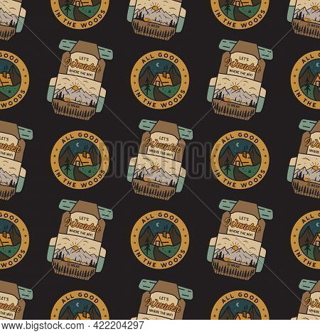 Camping Adventure Badges Pattern. Camping Adventure Seamless Background With Backapcks, Mountains, C