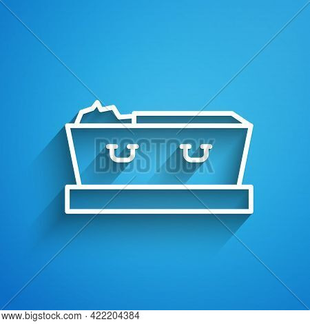 White Line Open Coffin With Dead Deceased Body Icon Isolated On Blue Background. Funeral After Death