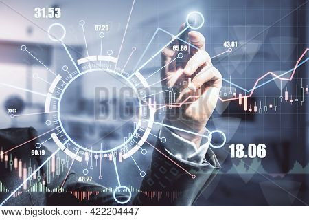Forex Market And Blockchain Technology Analysis Concept With Trader Hand With Pan On Digital Board W